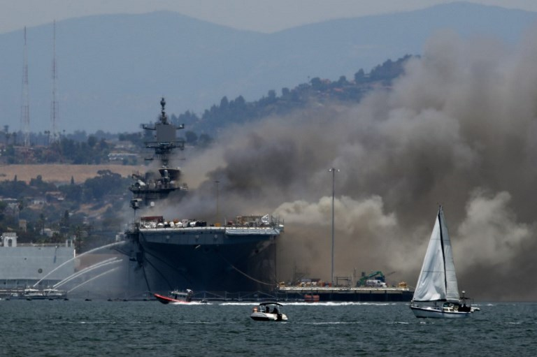 US - NAVY - SHIP - USS - BONHOMME - RICHARD - BURNS - AT - NAVAL - BASE - IN - SAN - DIE